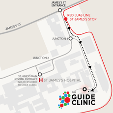 map of Guide Clinic at St James's Hospital Dublin